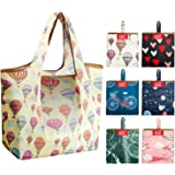 Grocery Bags Reusable Shopping Bags Foldable With Pouch Large 50 LBS 6 Pack Cute Groceries Totes Bags Ripstop Fabric Light we