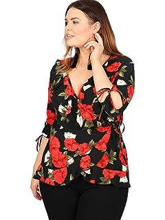 5331af1141b6d Lovedrobe GB Women s Plus Size Orange Button Back Peplum Top  Amazon ...