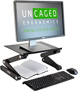 WorkEZ Monitor Stand Ergonomic Adjustable Height and Angle Single Computer Monitor Riser. Portable Folding Aluminum Holder Mount for Desktop pc Monitors Screens Organizer Black