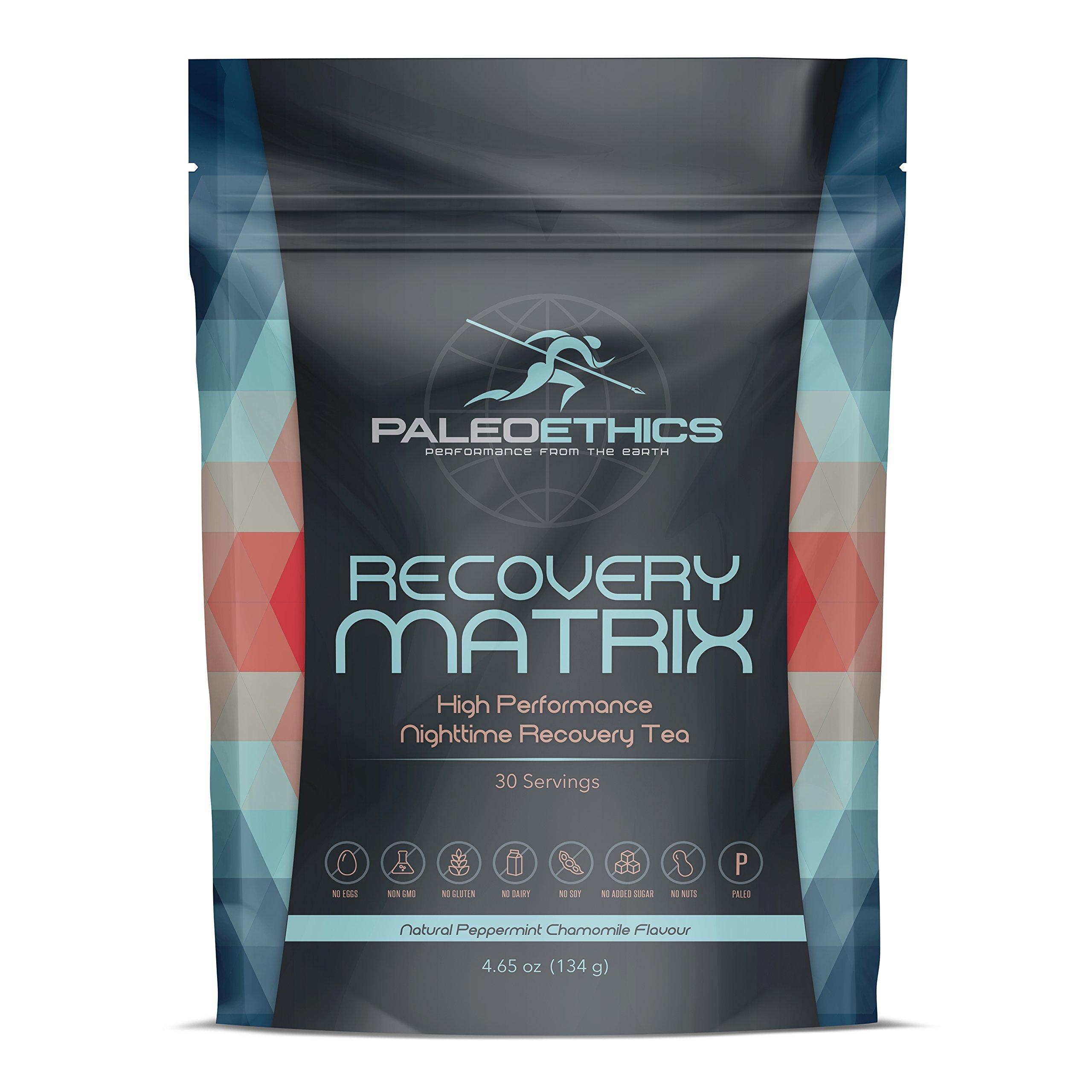 PALEOETHICS High Performance Recovery Matrix Recovery Tea Powder, Peppermint Chamomile, 4.65 oz, 134 Gram