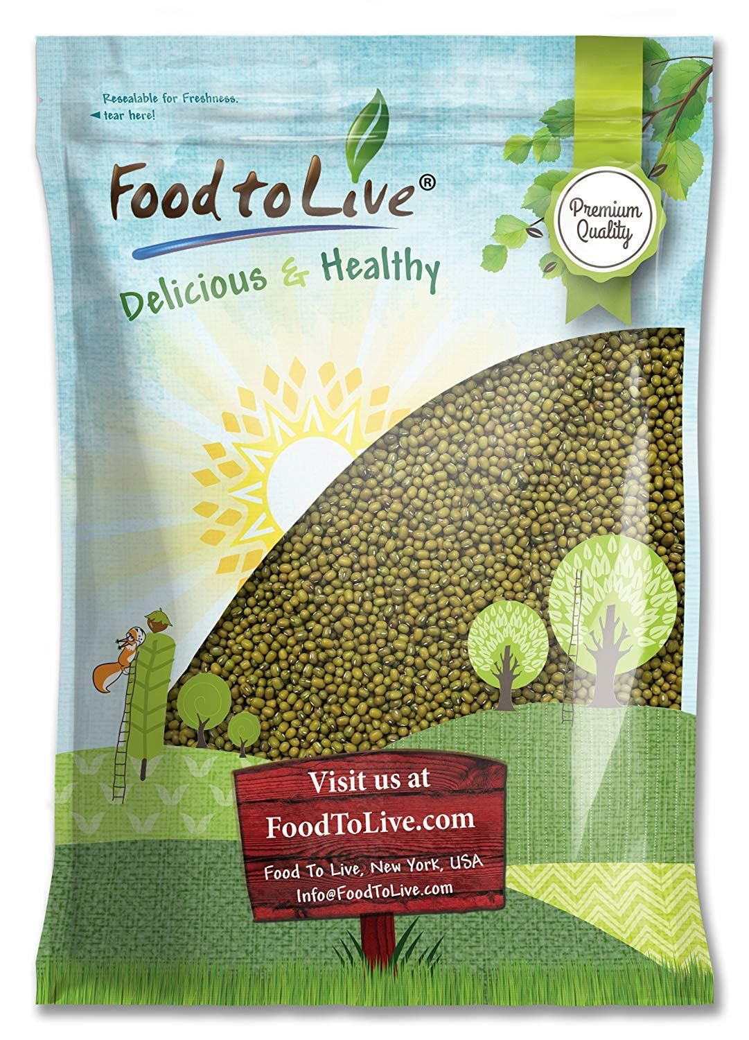 Mung Beans, 5 Pounds - Green, Dried, Kosher, Bulk by Food to Live