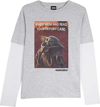 Star Wars Camiseta Niño, Camisetas Niño de Manga Larga Gris y Negra, con Baby Yoda The Mandalorian The Child, Ropa Niño, Regalos para Niños y Adolescentes