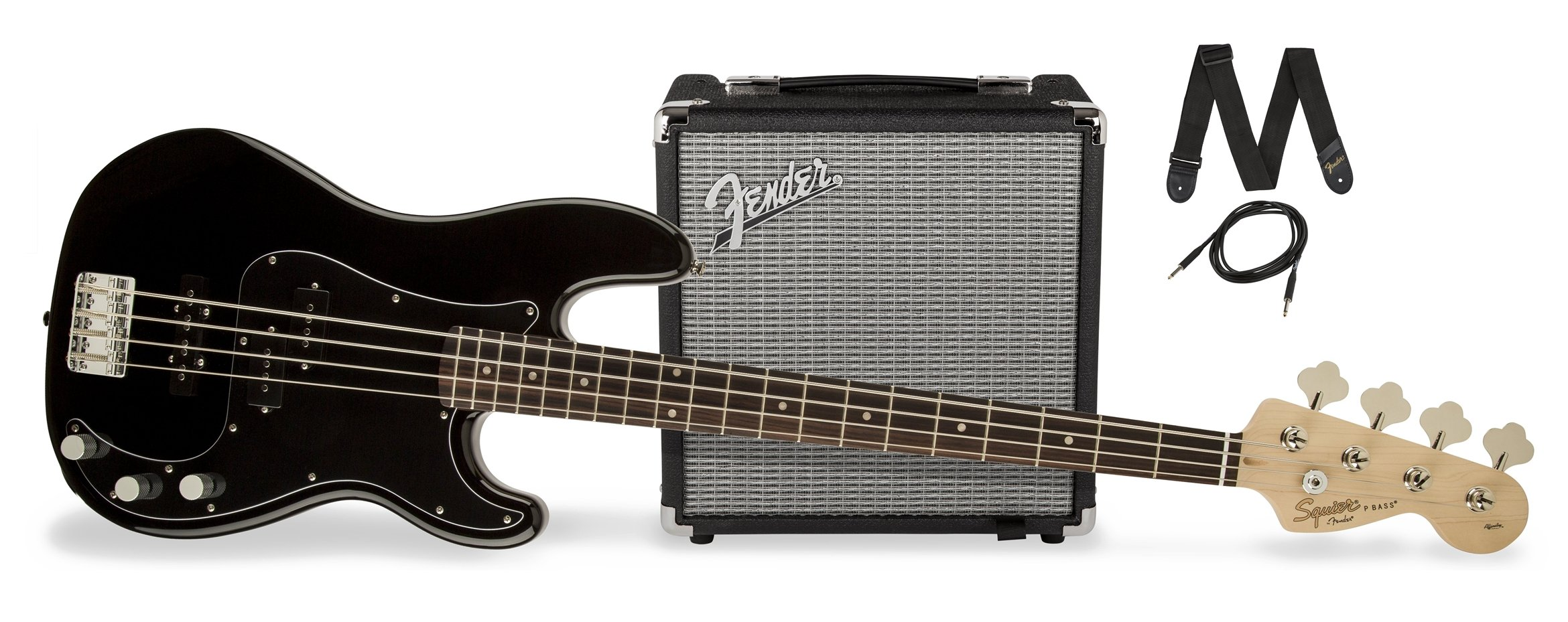 Squier by Fender PJ Electric Bass Guitar Beginner Pack with Rumble 15 Amplifier - Black Finish by Fender