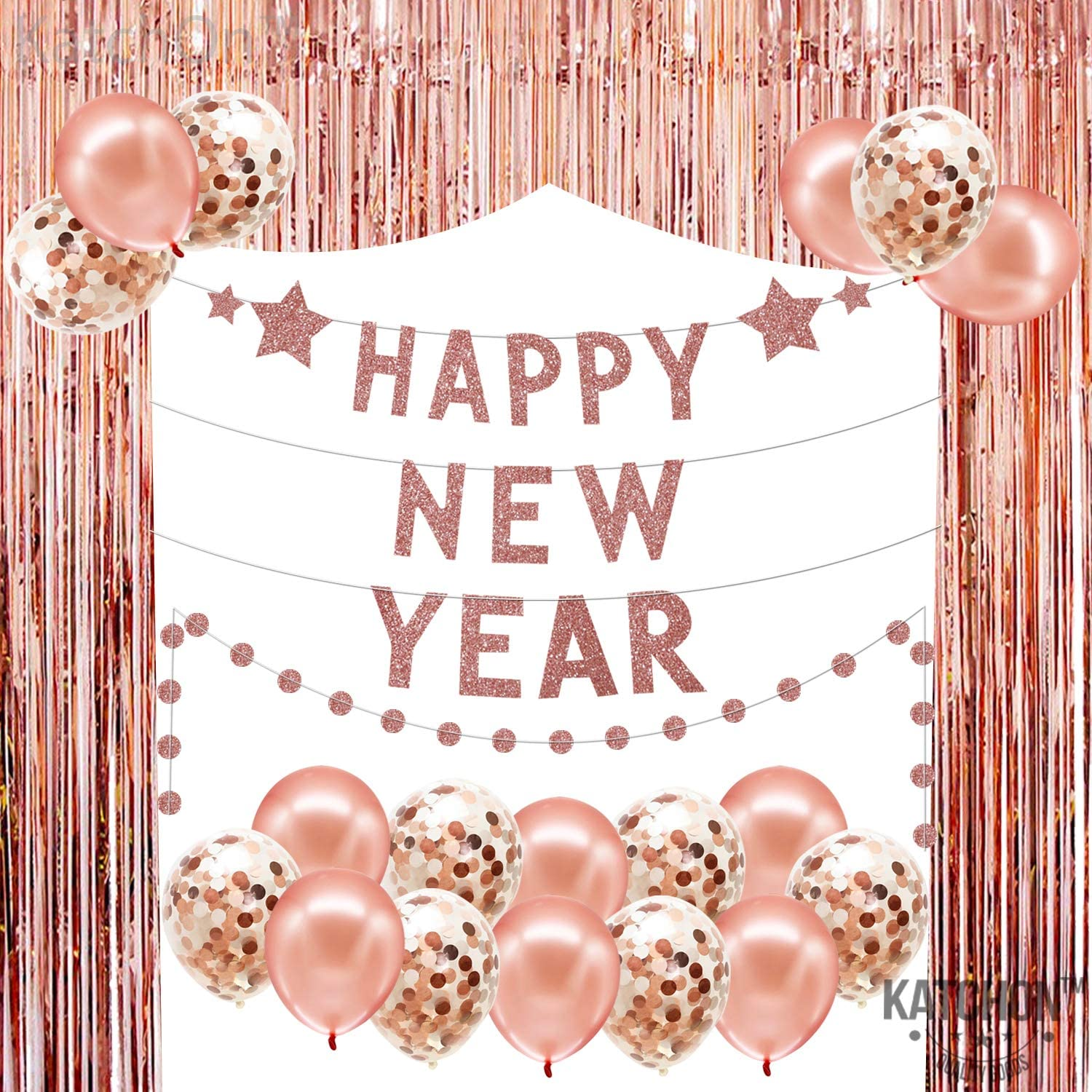 Rose Gold New Years Eve Backdrop Banner - Rose Gold Fringe Foil Tinsel Backdrop| Confetti Balloons | Happy New Year Banner Garland Sign |New Years Eve Party Supplies 2021 | Happy New Year Decorations