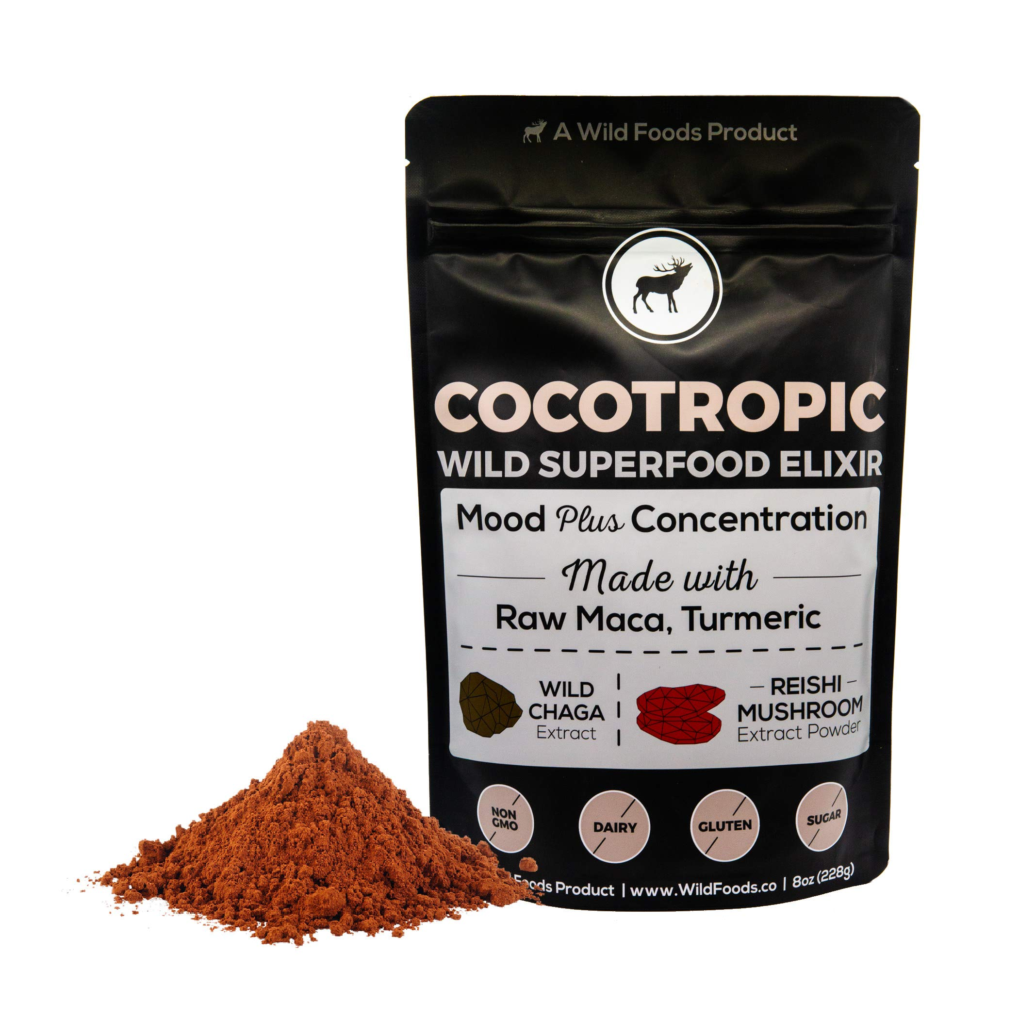 Wild Cocotropic Raw Cacao with Reishi Mushroom, Chaga Extract, Raw Maca and Turmeric, Cognitive Enhancing Hot Cocoa Beverage, Nootropic Powder for Smoothies, Shakes, Coffee (8 ounce)
