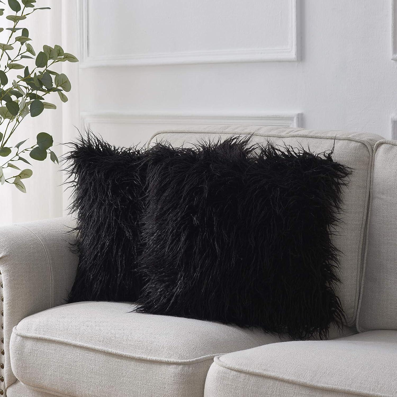 2Pcs Cushion Covers Throw Pillows Shells Super Soft Plush Faux Fur Decor 45x45cm