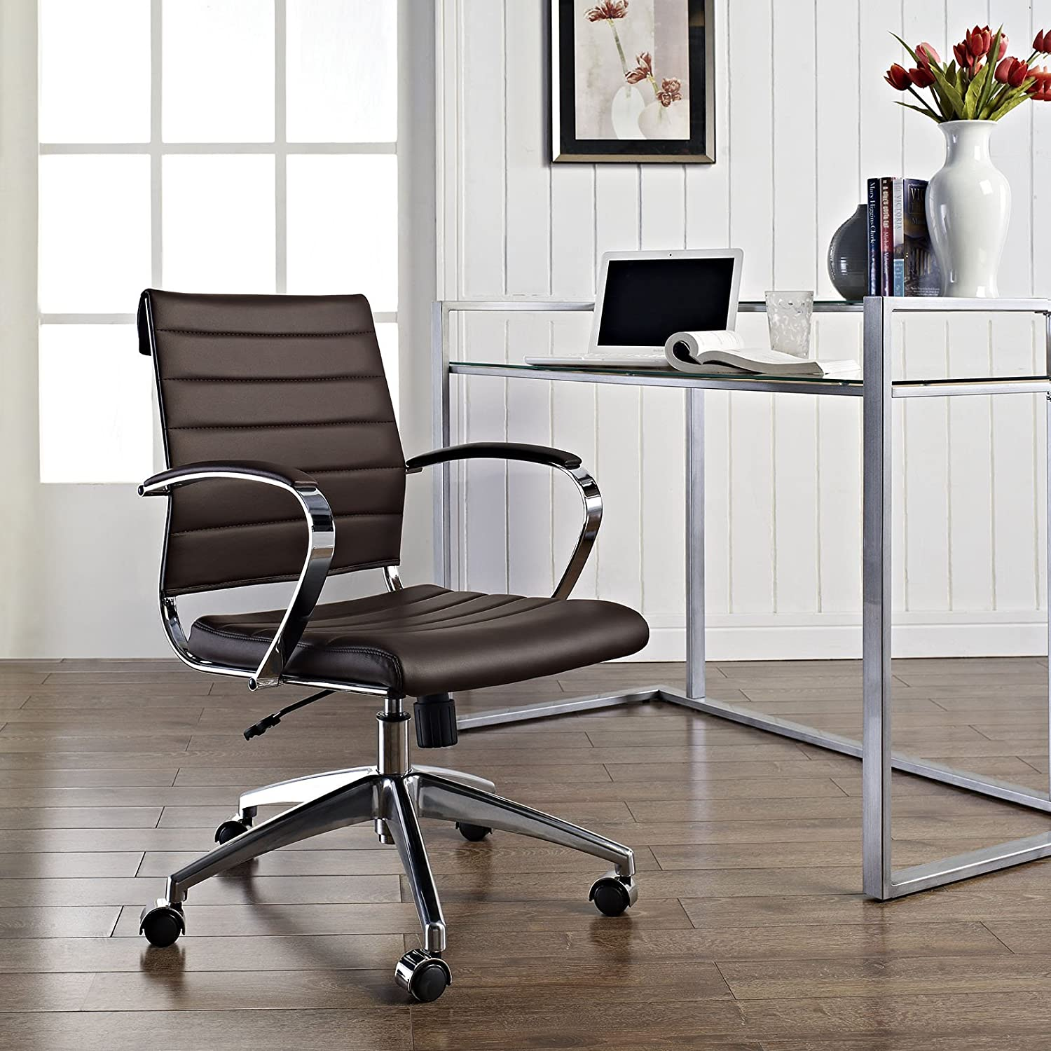 Modway Jive Ribbed Mid Back Computer Desk Swivel Office Chair In Brown