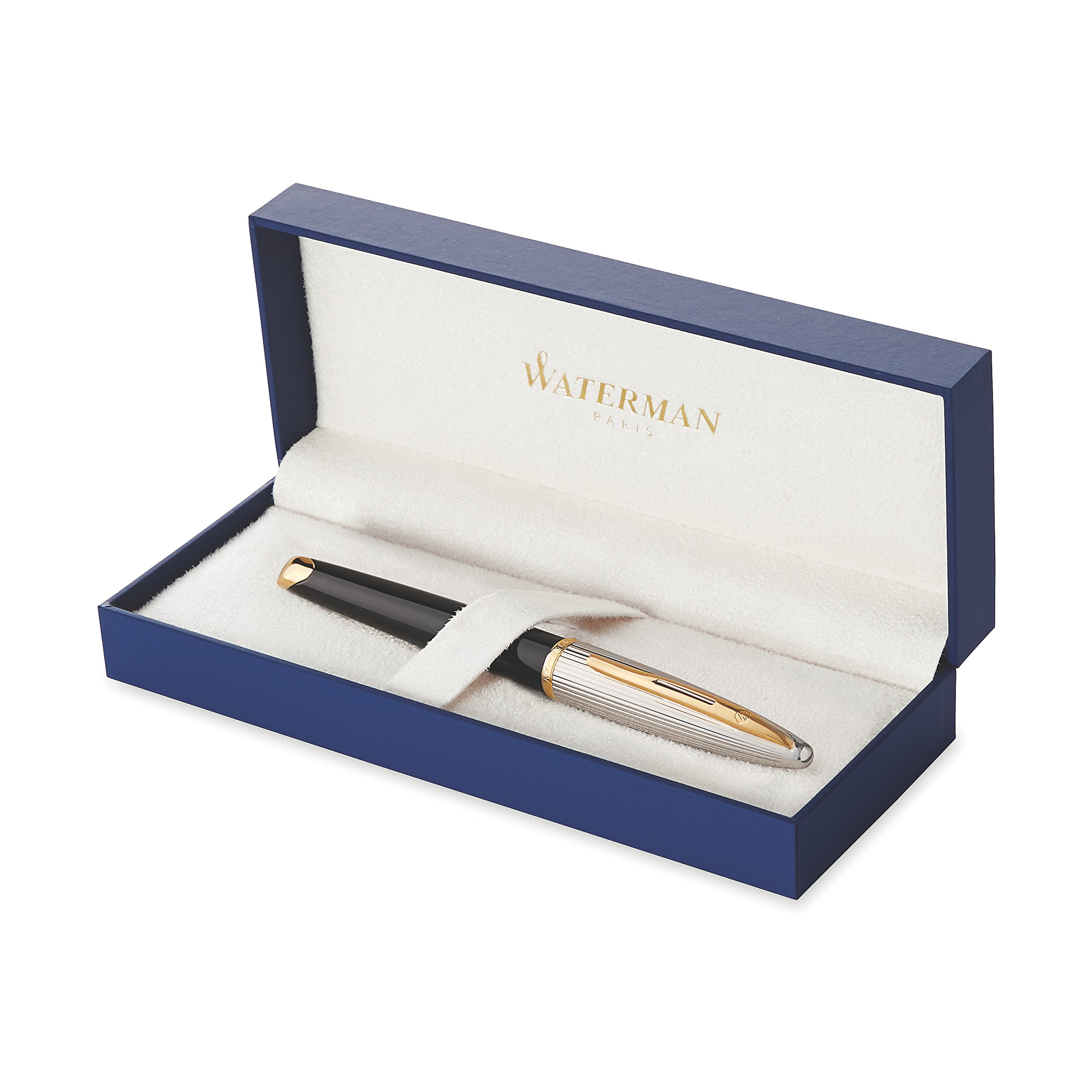 Waterman Carène Deluxe Rollerball Pen, Gloss Black & Silver Plated with 23k Gold Clip, Fine Point with Black Ink Cartridge, Gift Box by Waterman (Image #6)