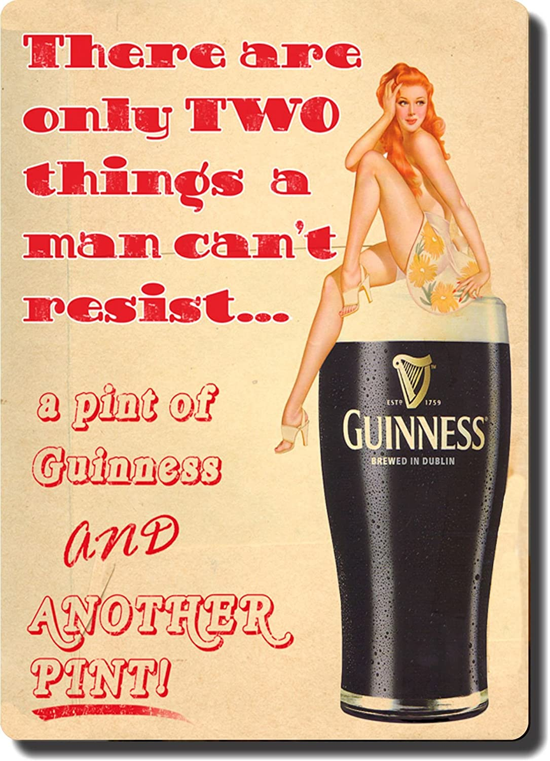 Amazon.com: Reproduction of Vintage Guinness with Sexy Woman on the ...