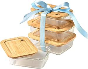 Glass Food Storage Containers with Eco Friendly Bamboo Wooden Lids, Set of 4: 2 x 640ml & 2 x 1040ml Ideal for Storing Coffee, Tea, Flour, Sugar, Pasta and Various Dried Foods Great for Lunch Box Too