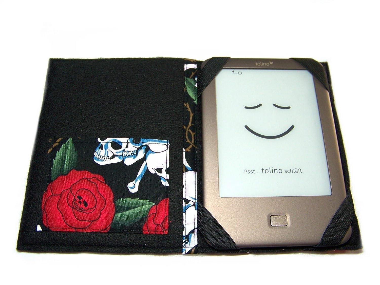 Ma/ßanfertigung f/ür Tolino Epos//Tolino Vision 4HD B aufklappbare eBook Reader eReader Tablet H/ülle Skulls N Roses z