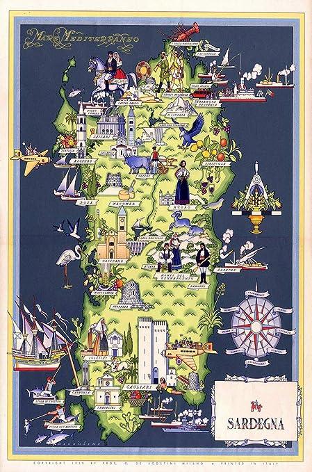 Cartina Sardegna Formato A4.Metal Sign Poster Mappa Italiana Sardegna Sardegna Viaggio 1939 A4 12 X 8 In Alluminio Amazon It Casa E Cucina