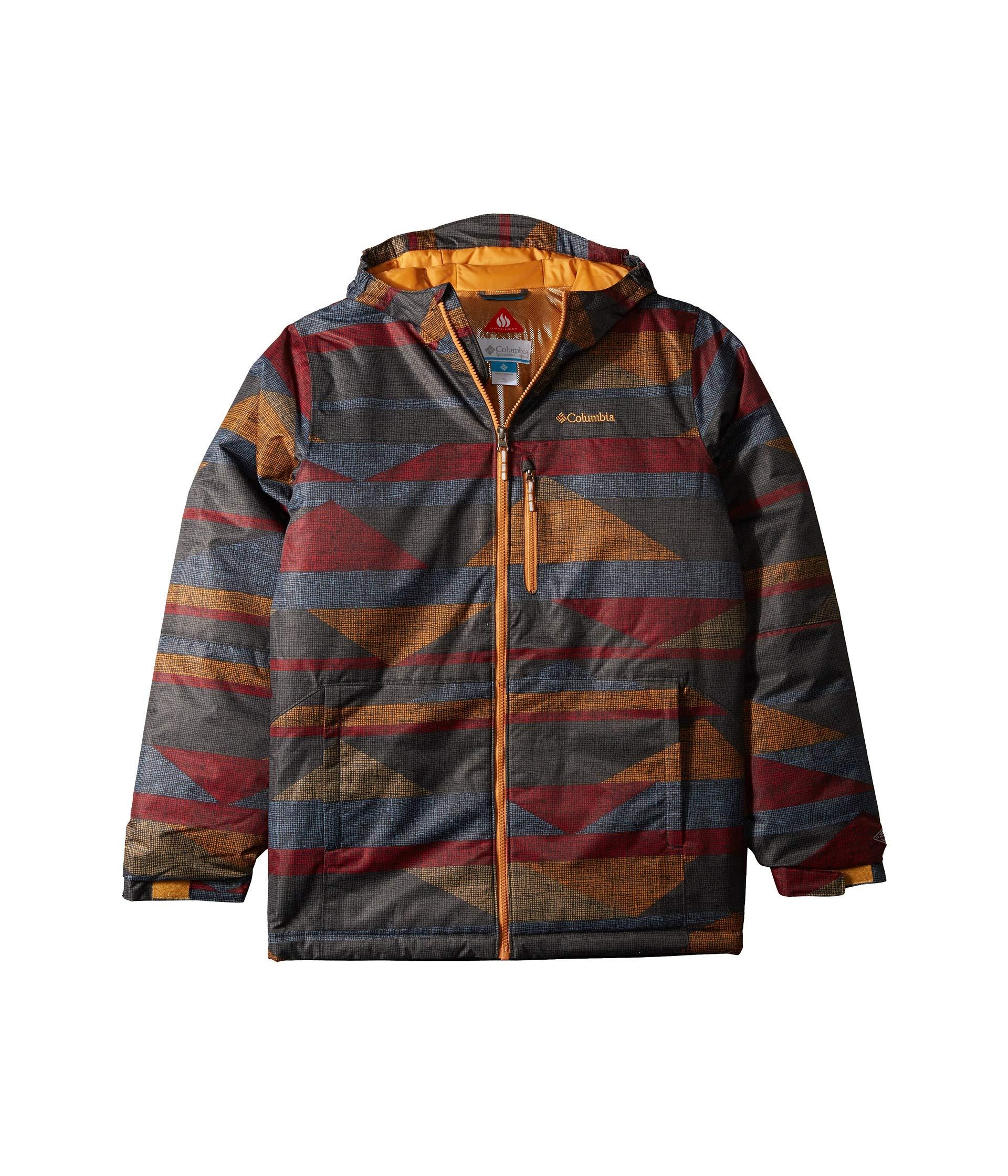 Columbia Kids Boy's Magic Mile Jacket (Little Kids/Big Kids) Canyon Gold Block Print Large