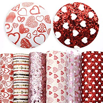 Glitter Christmas Printed Faux Leather Fabric Sheets Include 3 Kinds of Leather Fabric for DIY Bows Earrings Making Crafts David accessories 6 Pcs 7.8 x 13.3 Set B 20 cm x 34 cm