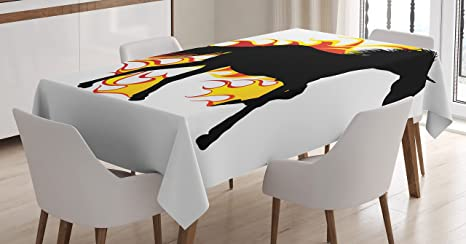 Ambesonne Equestrian Decor Tablecloth Horse Silhouette Running In Flame Tongues Animal Sport Hobby Print