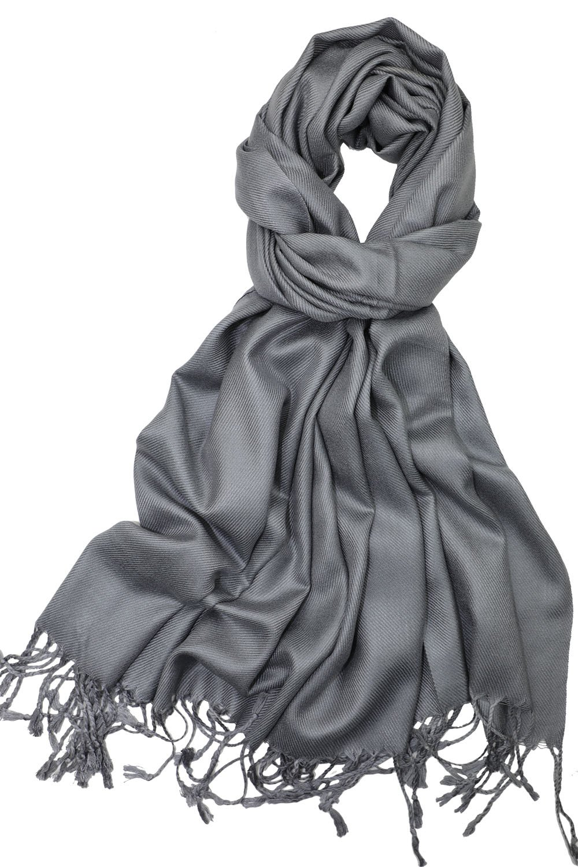 Achillea Soft Silky Solid Pashmina Shawl Wrap Scarf for Wedding Bridesmaid Evening Dress … (Grey)