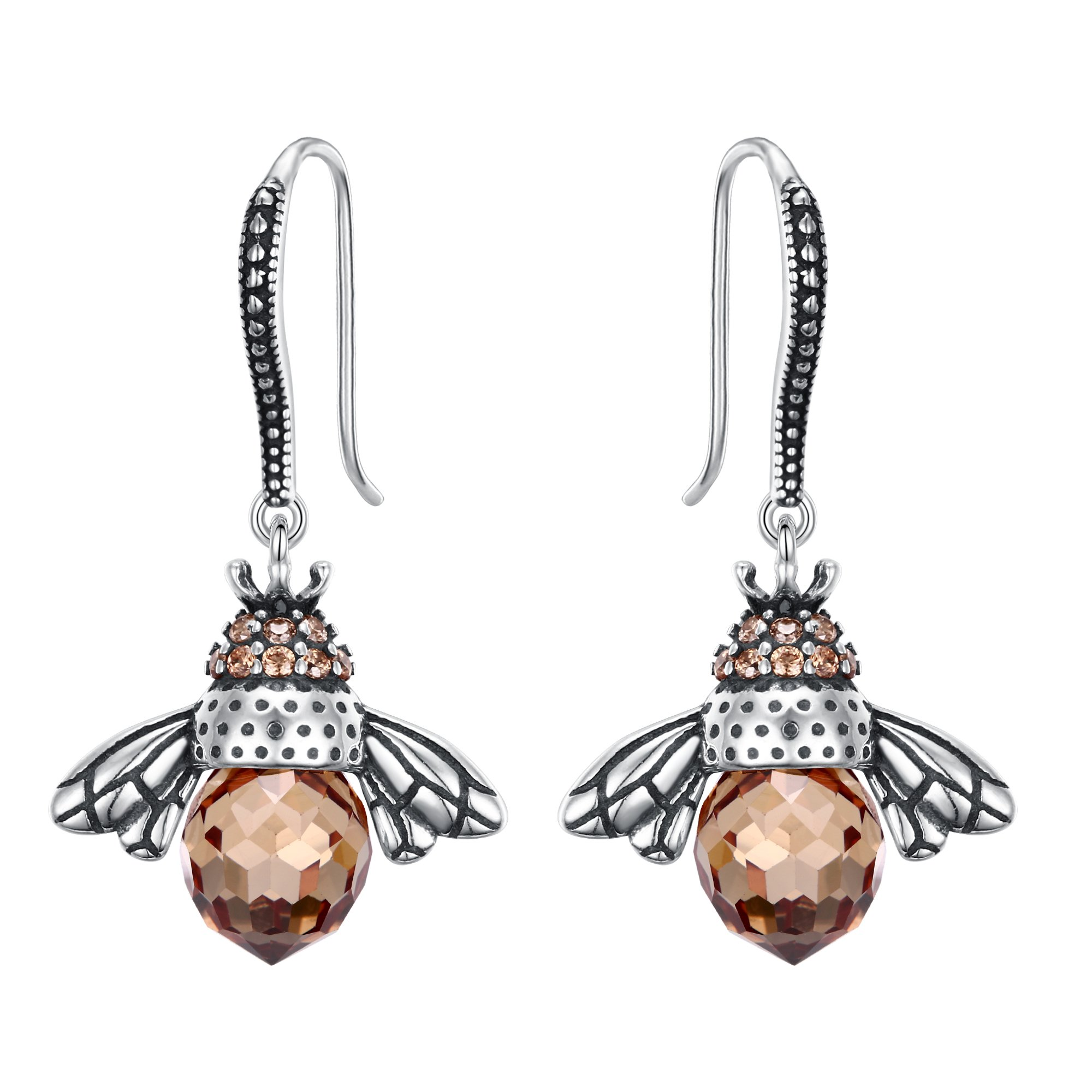 EleQueen 925 Sterling Silver Vintage Inspired Brown Crystals Queen Bee Earrings Jewelry For Women by EleQueen (Image #1)