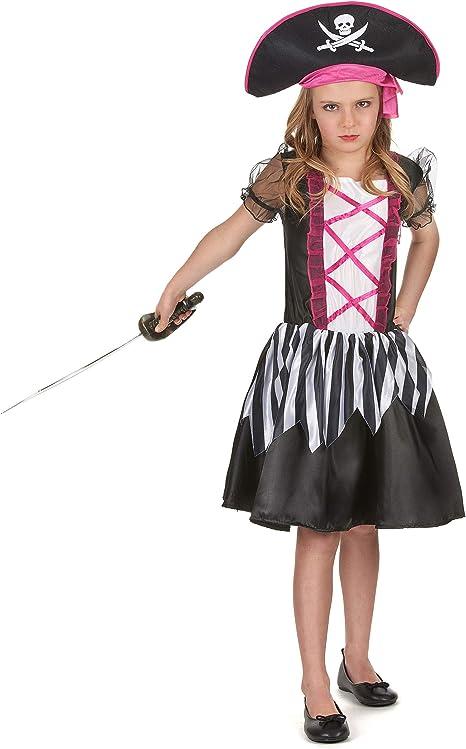 Disfraz pirata niña blanco y negro 4-6 años (104/116): Amazon.es ...