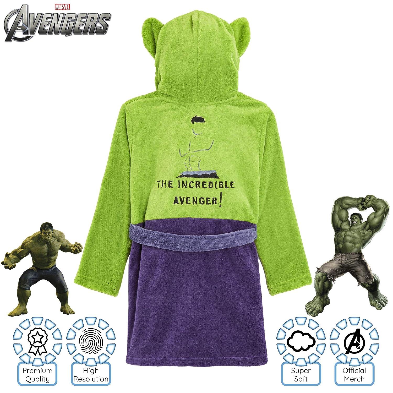 Prodotto Ufficiale Vestaglia Super Morbida in Pile Morbido con Supereroe Hulk e Captain America Regali Comics per Ragazzi Marvel Vestaglia Bambino Pile