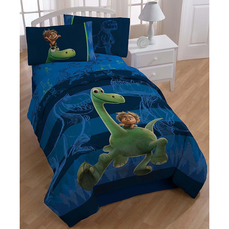 5pc Blue Kids Disney Good Dinosaur Movie Theme Comforter Twin Set, Cute Fun Disneys Pixar Carnivore Dinosaurs Bedding, Character Spot Dino Arlo Themed, Horizontal Stripe Pattern, Green Navy