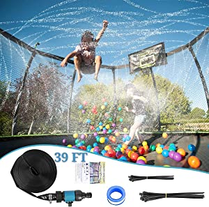 Trampoline Sprinkler Waterpark 39 FT Automatic Spray Water Tube for Outdoor Recreation Fun Summer Outdoor Water Game Toys Trampoline Accessories Outdoor Cooling System. No Tools Required