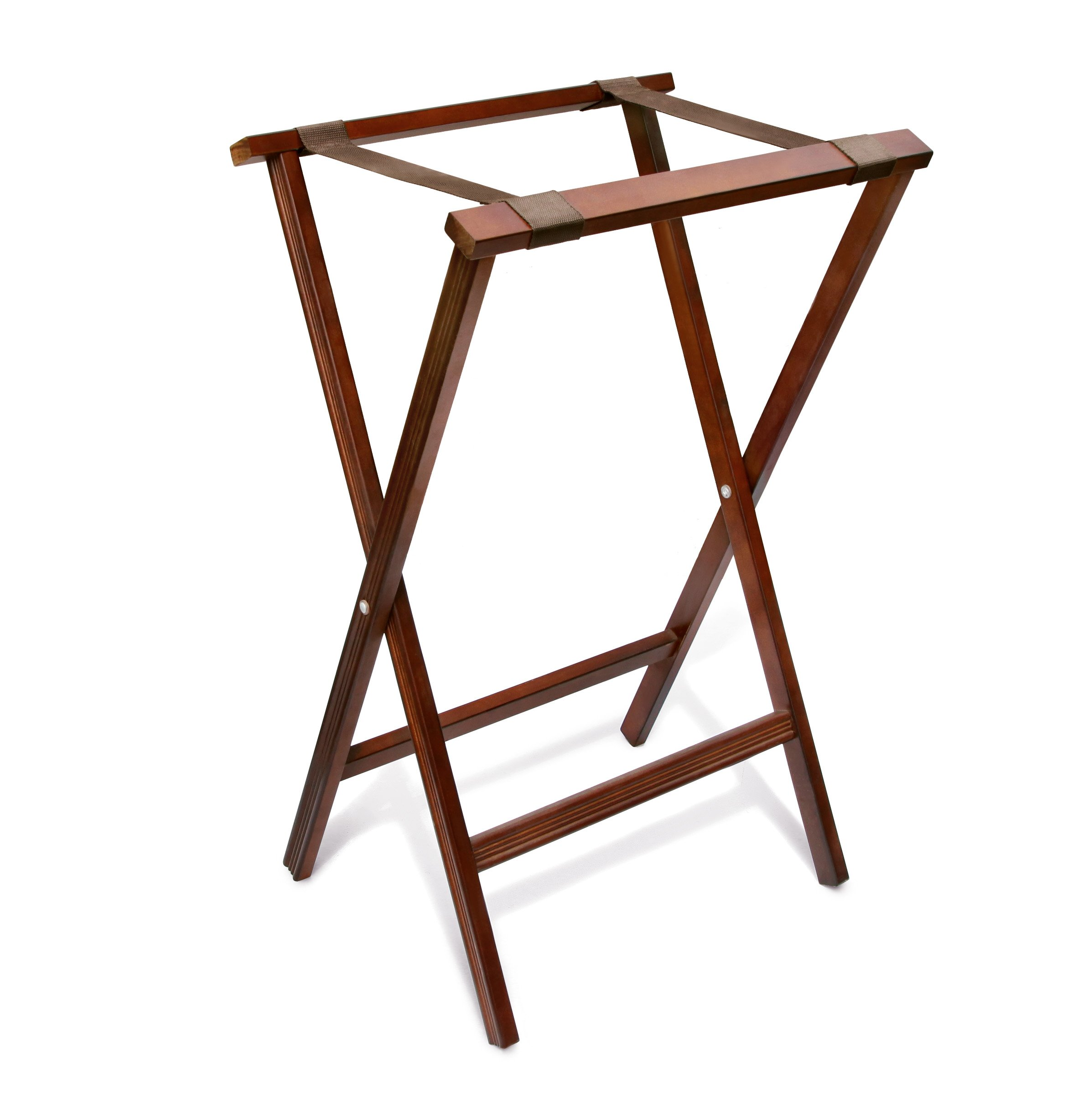 New Star Foodservice 20069 Walnut Finish Solid Wood Tray Stand, 32-Inch