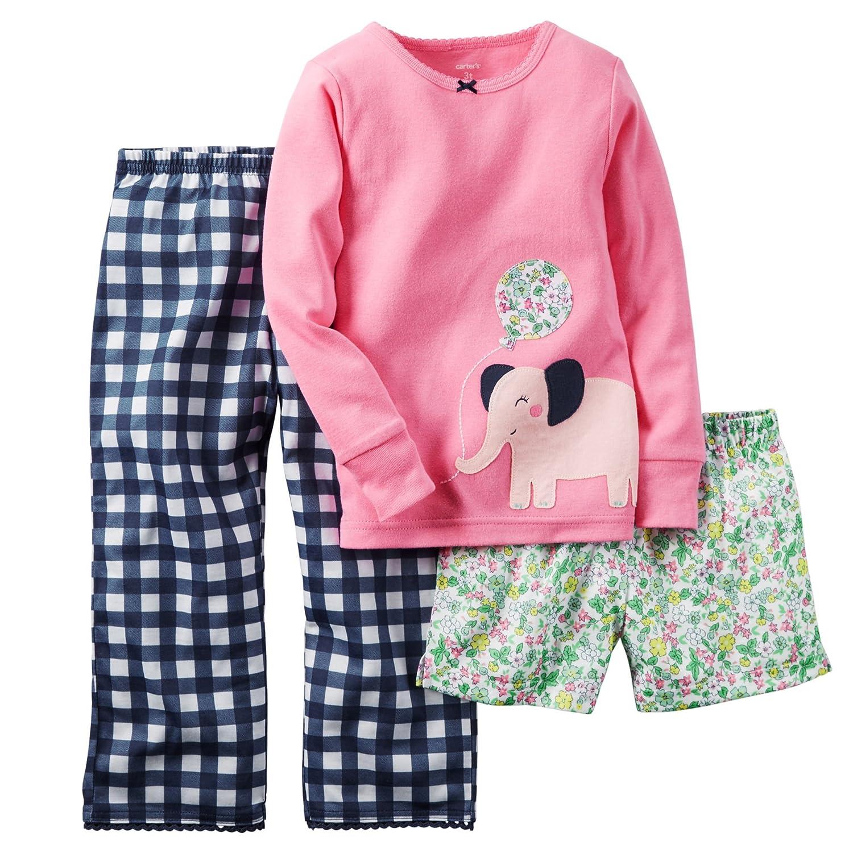 42211ae0f6 Amazon.com  Carters Little Girls 3-Piece Cotton   Jersey Pajama Set ...