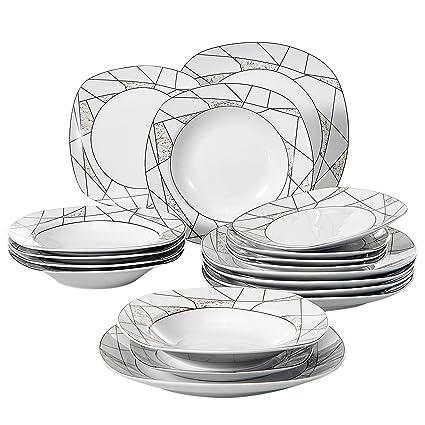VEWEET 18 Piece Porcelain Dinner Set Ivory White Irregular Patterns Plate  Sets With Dinner Plate