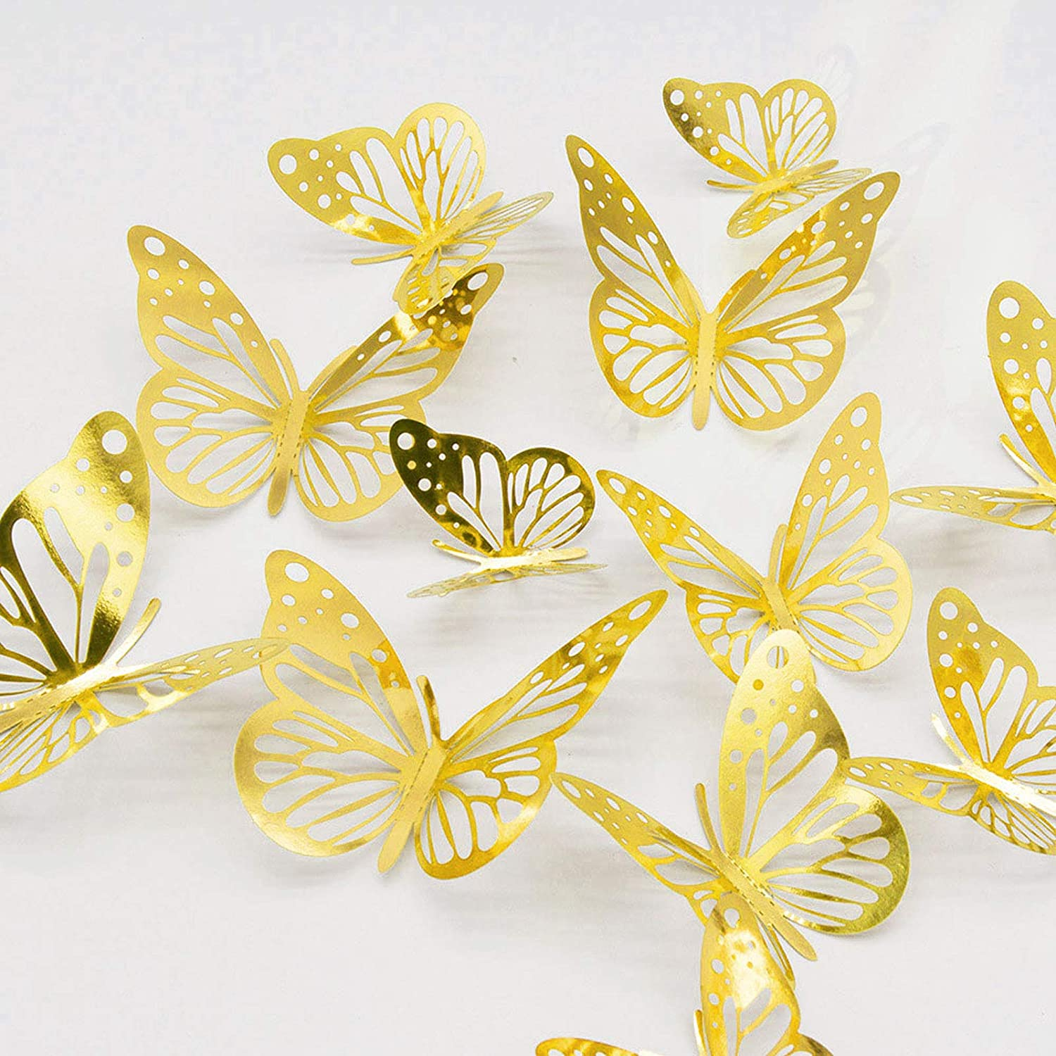 3D Butterfly Wall Stickers, 48PCS Gold Butterfly Wall Decals Decorations Stickers with 4 Patterns Butterflies Gold Party Decoration for Home Nursery Classroom Kids Bedroom Decor
