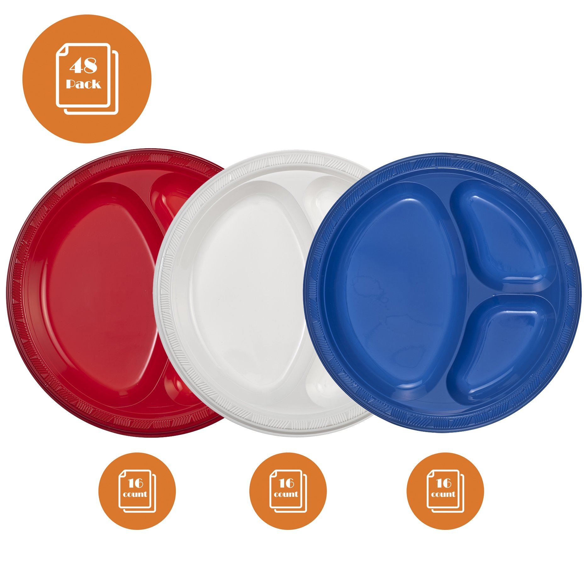 Tiger Chef 48-Pack Red Blue White American 10 inch Plastic 3 Compartment Divided Plates Party Supplies, Includes 16 Red, 16 Blue and 16 White Heavyweight Disposable Dinner Picnic Party Plates Set