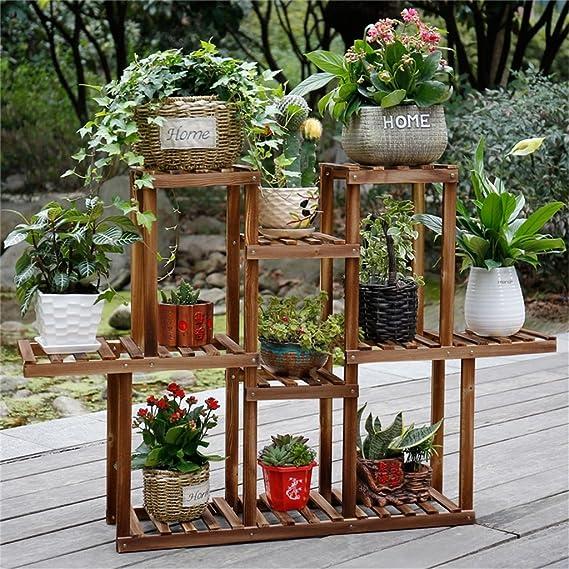 AIDELAI madera maciza carbonización múltiples capas aterrizaje Simple flor estante estante de flores balcón interior y exterior maceta con flor accesorio de patio jardín pérgolas: Amazon.es: Hogar