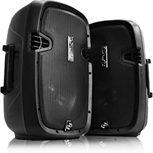 Wireless Portable PA Speaker system - 1000W High Powered Bluetooth Compatible Active + Passive Pair Outdoor Sound Speakers w/ USB SD MP3 AUX - 35mm Mount, 2 Stand, Microphone, Remote - Pyle PPHP1049KT