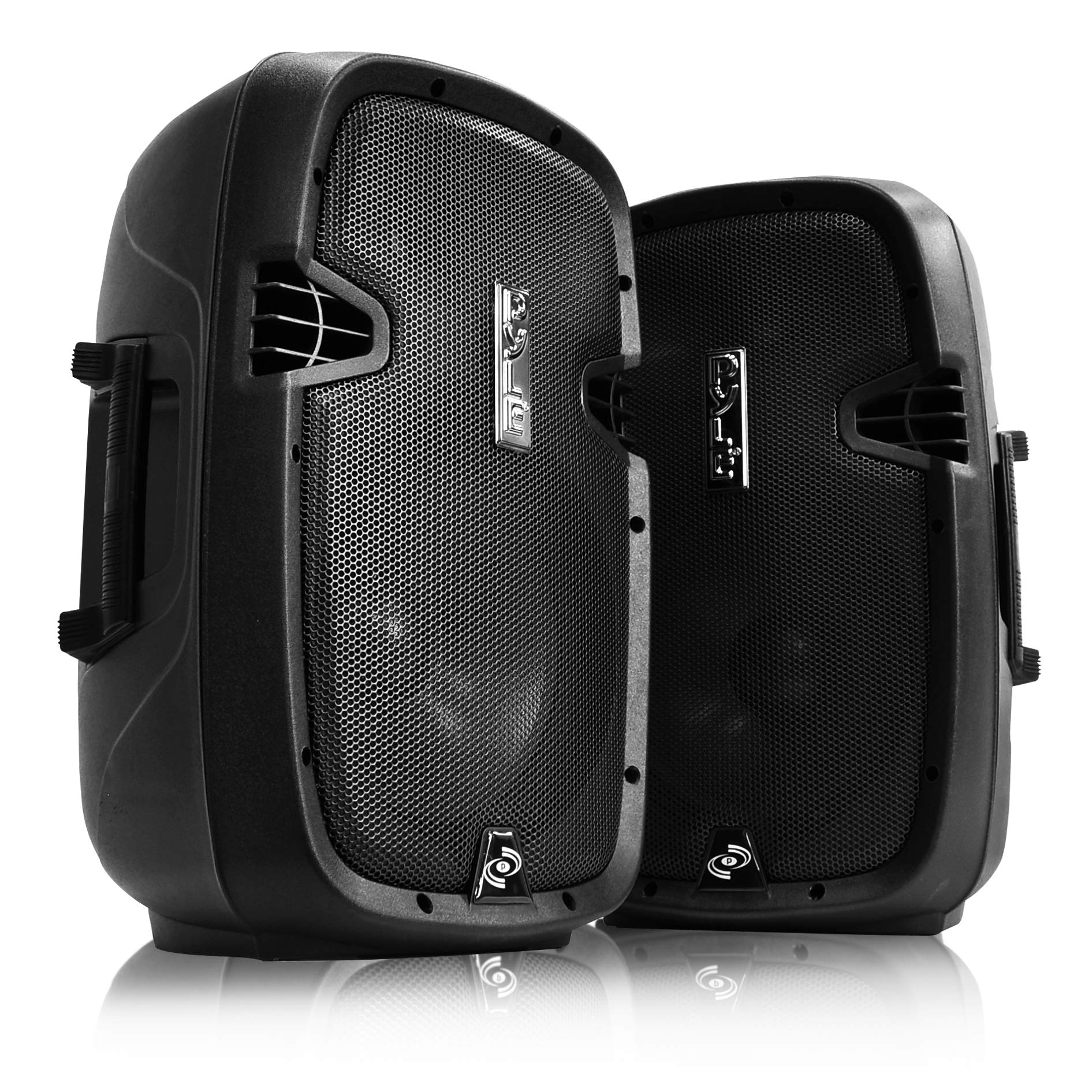 Wireless Portable PA Speaker System - 1000W High Powered Bluetooth Compatible Active + Passive Pair Outdoor Sound Speakers W/USB SD MP3 AUX - 35mm Mount, 2 Stand, Microphone, Remote - Pyle