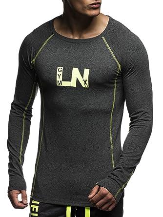 d9f0a3b1198 LEIF NELSON Gym pour des Hommes Fitness Sweatshirt T-Shirt col Rond Manche  Longue Chemise