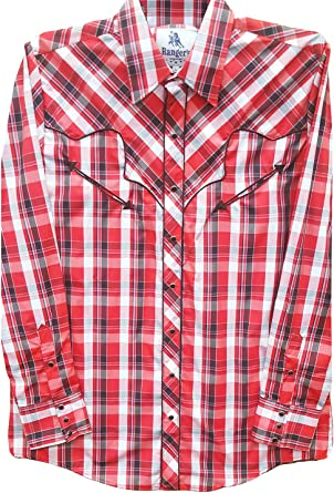 Modestone Mens Checked Fitted Western Camisa Vaquera Red ...