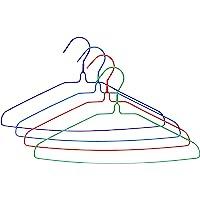UM24 Galvanized Steel Metal Coat 16-Inch Clothes Wire Hangers with Plastic Coating In Assorted Colors, 13 Gauge, Set of…