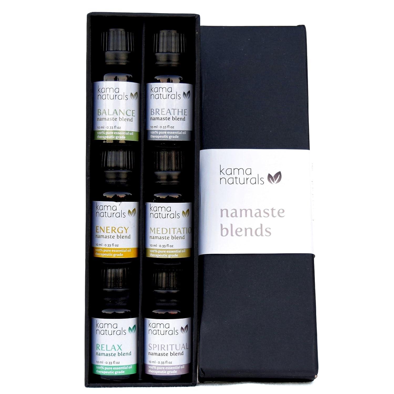 Kama Naturals Namaste Blends - Set of 6 Pure Essential Oil Blends  Therapeutic Grade - Balance, Breathe, Energy, Meditation, Relax, Spiritual  (6 x