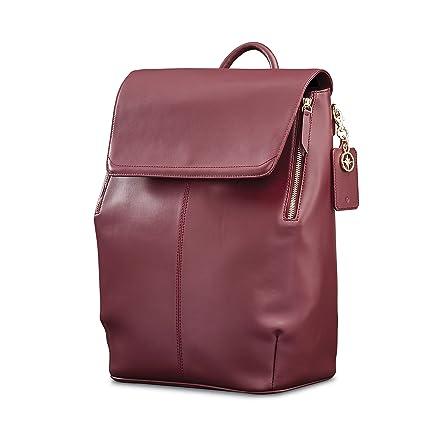 Amazon.com | Samsonite Ladies Leather Hamptons Backpack Sangria | Casual Daypacks