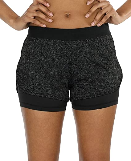 icyzone Damen Kurze Sport Hose Running Gym Workout Shorts 2 in 1