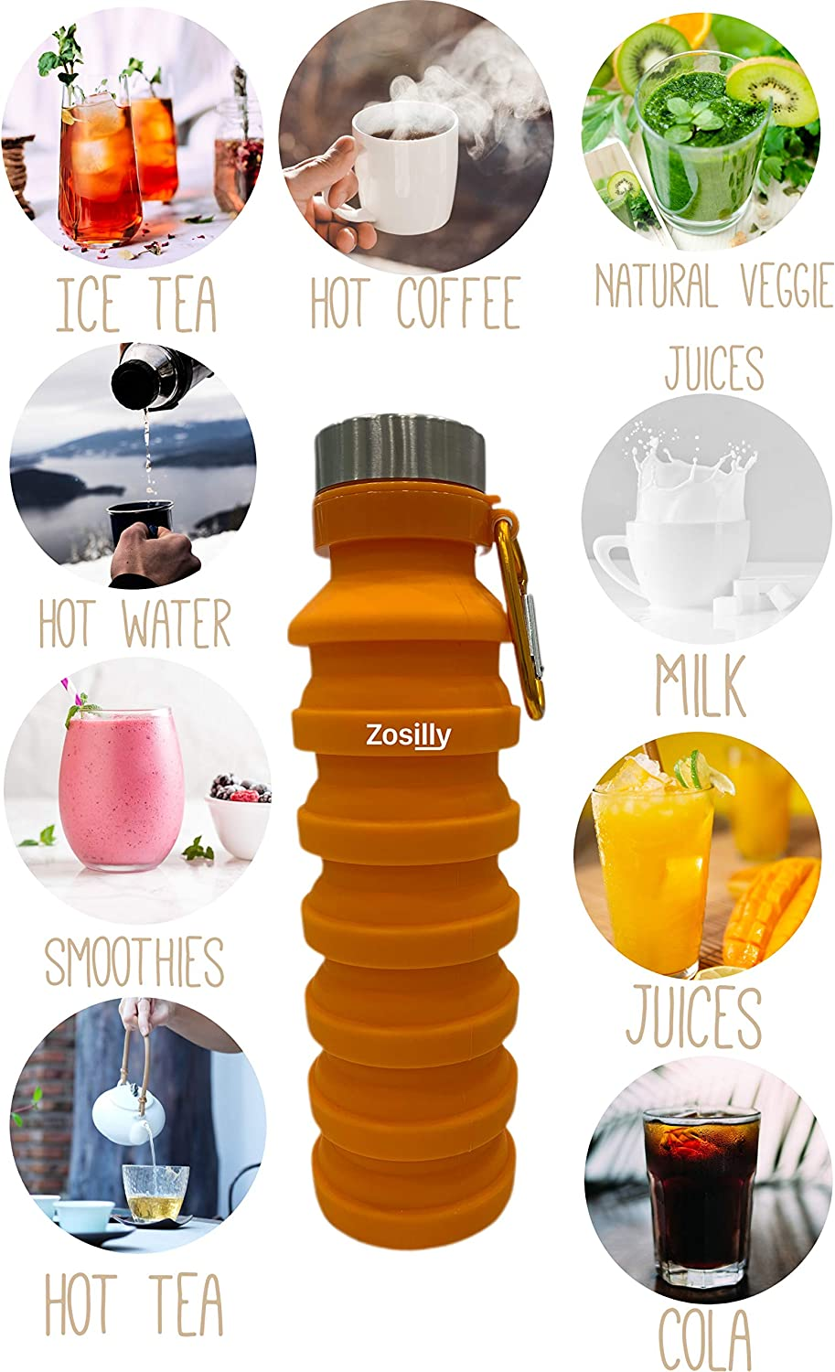 ZoSilly Collapsible Water Bottle Handstrap and Cleaning Brush Lightweight Reusable BPA Free Silicone for Travel Sports Gym Camping Hiking Portable with Carabiner