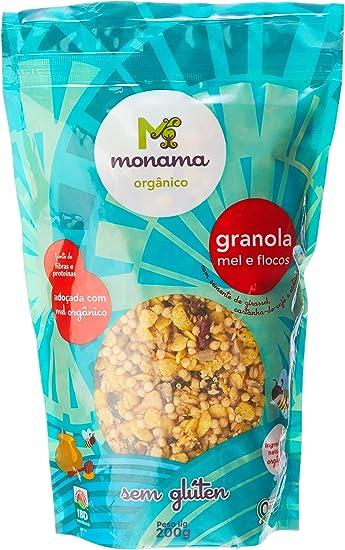 Granola Flocos e Mel Saudável sem Glúten Orgânica Monama 250g