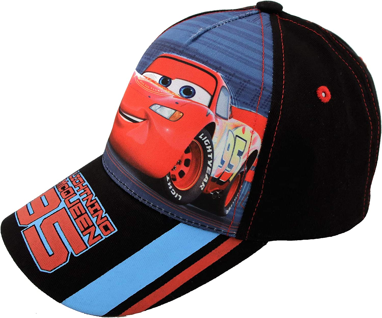 Disney Little Boys' Cars Lightning McQueen Character Cotton Baseball Cap, Black/Red, Ages 4-7
