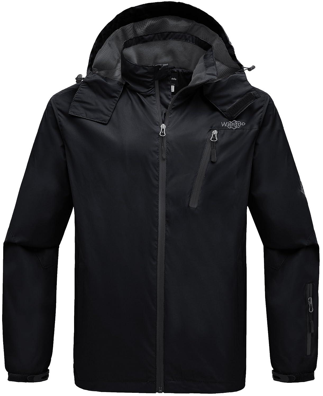 Wantdo Men\'s Hooded Windproof Rain Jacket Windbreaker Outdoor Hiking Jacket