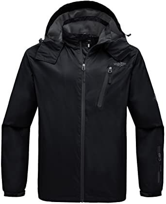 b2f415a9c Wantdo Men's Hoodie Front Zip Raincoat Outdoors Windproof Windbreaker  Breathable Jacket for Running Black S