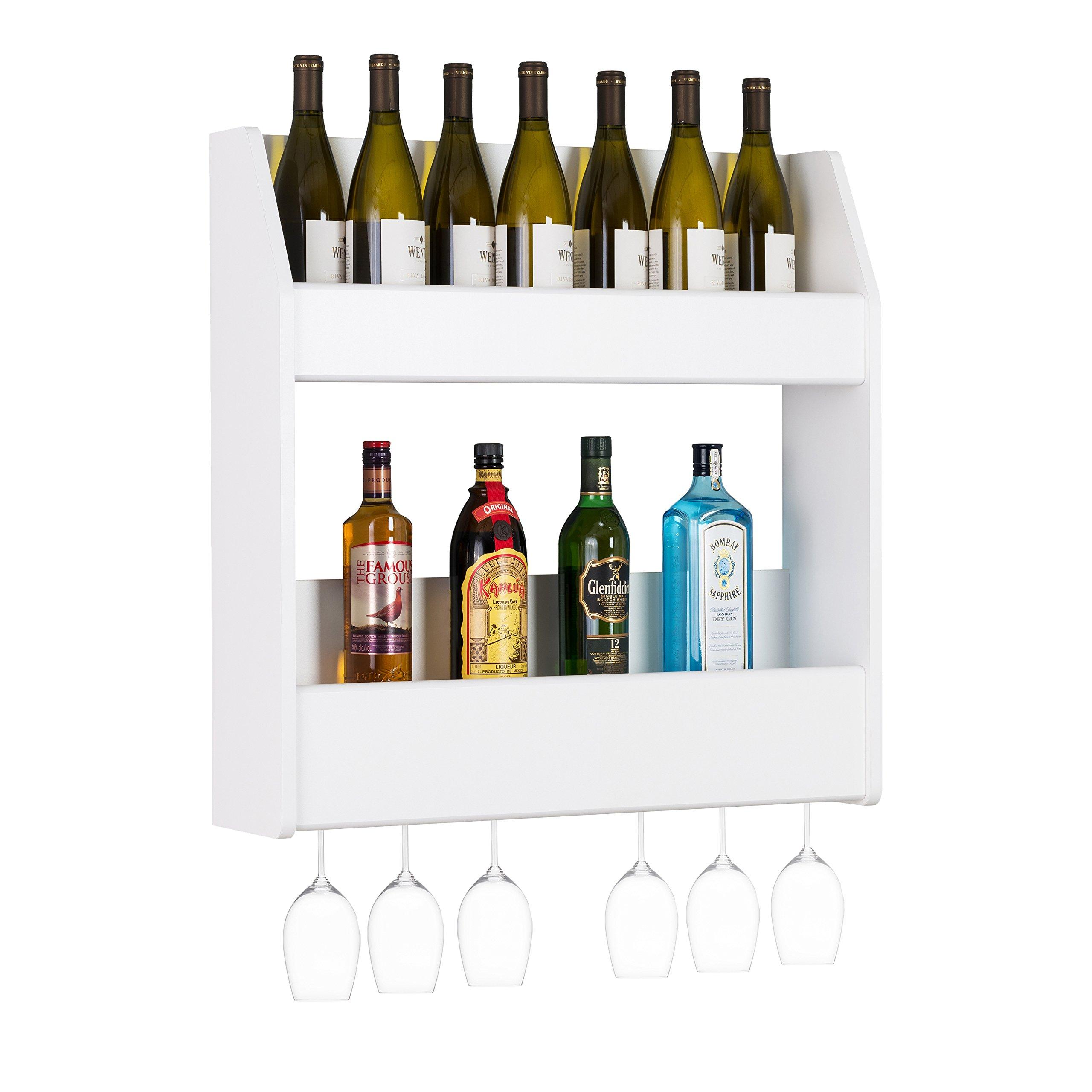 Prepac 2-Tier Floating Rack 2 Liquor, 24 Standard 750ml Bottles of Wine or Spirits, White