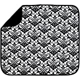 S&T 480100 Microfiber Dish Drying Mat, 16 by 18-Inch, Black/White Damask