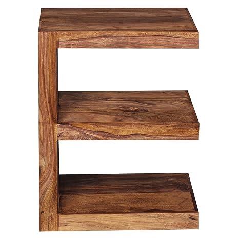 FineBuy Beistelltisch Massivholz Sheesham E Cube 60 cm Wohnzimmer-Tisch  Design braun Landhaus-Stil Couchtisch Natur-Produkt Standregal Unikat ...