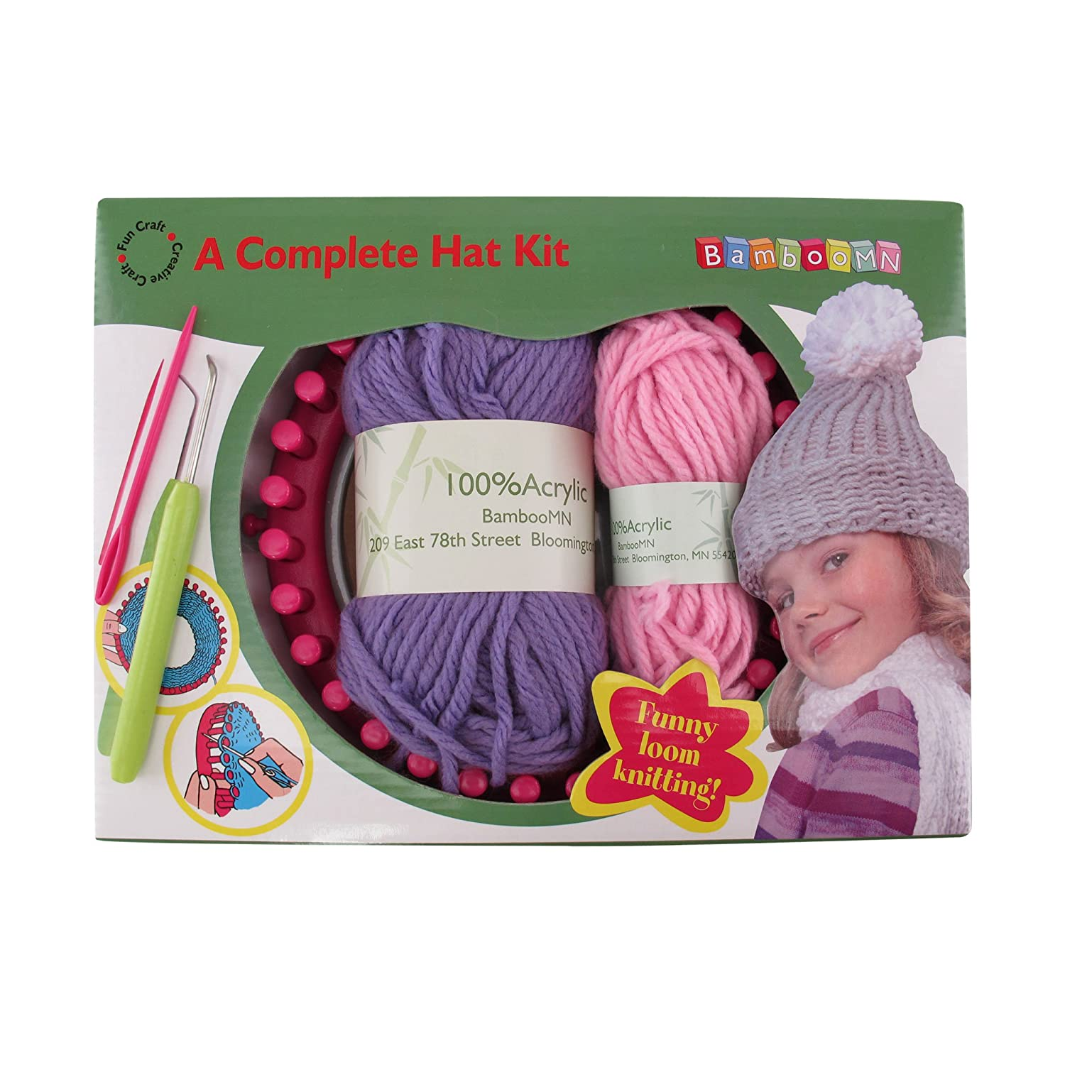 Loom Knitting Pattern Kit For Beginners - Hat Set - Purple Hat & White Pompom - BambooMN 6955114924985a