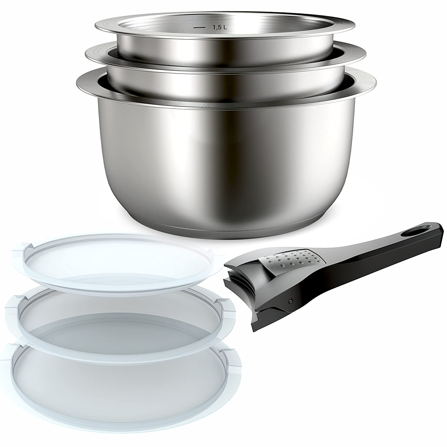 Backen 401199 7 Piece Cookware Set – 18/10 Stainless Steel – Suitable for all Heat Sources including Induction