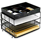 CAXXA 3 Trays Stackable Mesh Letter Tray, Desk File Organizer, Desktop Paper Tray Holder with Drawer, Black